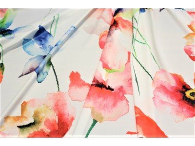 Crêpe satén flor multicolor