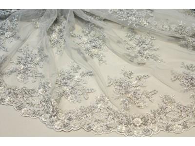 Bordado perlitas plata