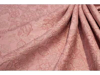 Jacquard de seda rosa lúrex