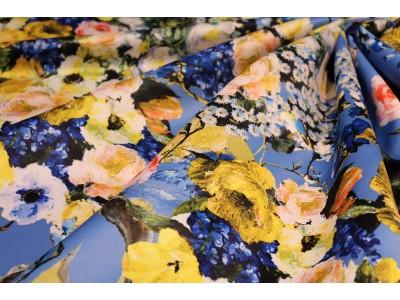 Raso estampado flores amarillo
